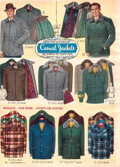 Vintage Mens Casual Jackets from a 1952 Sears catalog