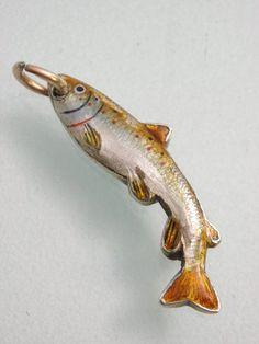 SUPERB & RARE ANTIQUE SILVER & ENAMEL SALMON TROUT FISH CHARM ANGLING FISHING