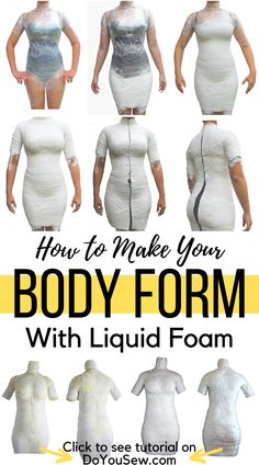 How to Make Your Body Form With Liquid Foam - There're huge advantages of making a body form having your body as template such as: perfect fit, easy to try on your garments and it will cost less… Sew Your Own Clothes, Make Your Own Dress, How To Make Clothes, Sewing Clothes, Diy Clothes, Sewing Hacks, Sewing Tutorials, Formation Couture, Robe Diy
