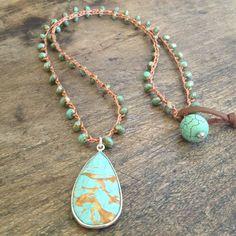 "Turquoise Sterling Silver Vermeil Pendant Crochet Necklace ""Beach Chic"""