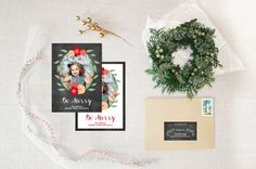 chalkboard flora :: holiday photo card by little bit heart #holidaycards #holiday #christmascards