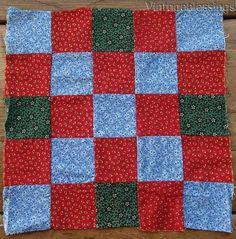 """RICH COLOR Antique c1860 25 Patch QUILT Block 10"""" Lancaster Blue"""