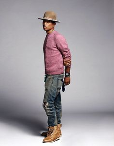 Pharrell Williams with his take on fall fashion with ripped denim brown timberland boots pinkish cashmere sweater brown fedora watch Stylish Men, Men Casual, Mode Hip Hop, Mode Man, Style Masculin, Sharp Dressed Man, Outfits With Hats, Estilo Retro, Hats For Men
