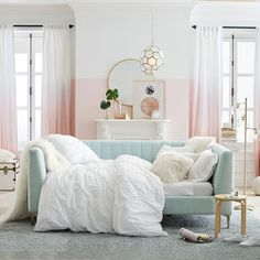 Our Avalon Channel Stitch Daybed majorly elevates the style of any bedroom with its tufted-detailed headboard and copper legs. This beautifully crafted bed adds sophisticated elegance to your dream space. Teen Girl Bedrooms, Big Girl Rooms, Modern Girls Rooms, Pink Bedrooms, Daybed Room, Daybed Bedroom Ideas, Bedroom Ottoman, Daybed Ideas, Upholstered Daybed