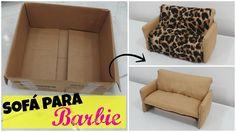 Sofá Simples e Fácil 3 Lugares para Barbie com Caixa de Papelão