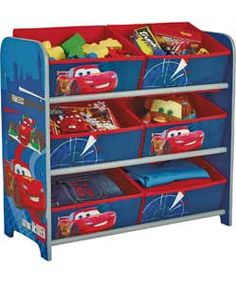 Disney Pixar Cars 2 Six Open Drawer Storage Unit.