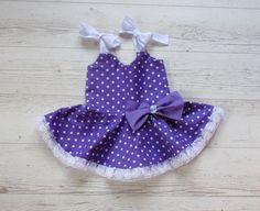Birthday dress girls purple dress polka dots by naturalbabydresses