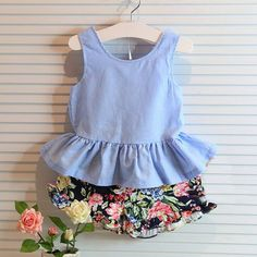 toddler girl clothing sets on sale at reasonable prices, buy 2016 Summer Kids Girls Clothes Flowers Brands Bow Backless Vest+Shorts Baby Suits Toddler Girls Clothing Set from mobile site on Aliexpress Now! Baby Outfits, Outfits Niños, Kids Outfits Girls, 2 Piece Outfits, Toddler Girl Outfits, Girls Dresses, Toddler Girls, Kids Girls, Baby Girls