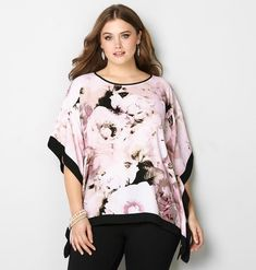 FLORAL PONCHO W/BORDER, Black Multi