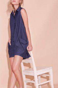 Straight sleeveless shirt dress with side pockets.   Ginger Dress by Eve Gravel. Clothing - Dresses - Casual Canada