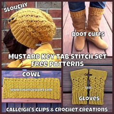 Calleigh's Clips & Crochet Creations: Free Crochet Patterns! Key Tab Series: slouchy, cowl, fingerless gloves & boot cuffs!