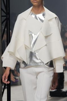 Panelled jacket & silver leather top - modern tailoring; fashion details // Maison Rabih Kayrouz
