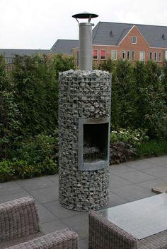 DEAUVILLE Liegeois - gabium outdoor fireplace (www.ChefBrandy.com)