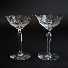 Vintage Cut Crystal Champagne Coupe Glasses, Circa 1900 - 1930, Facet Cut Stem, Flowers and Garlands Cut Design