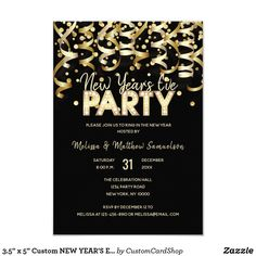 Custom NEW YEAR& EVE PARTY Gold Black Card - invitations personalize custom special event invitation idea style party card cards Invitation Card Party, Birthday Party Invitations, Birthday Cards, Birthday Diy, Birthday Gifts, Invitation Templates, Wedding Invitations, Surprise 30th Birthday, 30th Birthday Parties