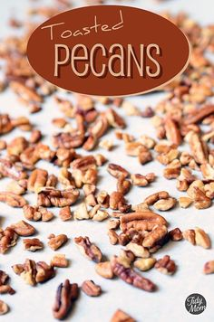 How to toast pecans at TidyMom.net   Add a little seasoned salt right out of the oven.