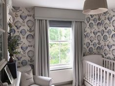 A beautiful nursery with bespoke window treatments by Rascal & Roses. Double pinch Pleat lined and interlined curtains, Roman Blind and upholstered pelmet with rope trim-all handmade in our Herefordshire workshop. Boys Bedroom Curtains, Childrens Curtains, Bedroom Blinds, Bedroom Windows, Nursery Blinds, Bedrooms, Curtain Pelmet, Drapes Curtains, Pinch Pleat Curtains