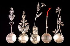 Gifts from My Garden, sterling silver, coral, and steel by Roberta and David Williamson, 2001-2002