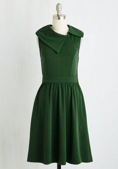 Trolley Tour Dress in Pine by ModCloth - Green, Solid, Daytime Party, Vintage Inspired, 40s, 50s, Fit & Flare, Sleeveless, Better, Exclusives, Private Label, Long, Knit, Variation