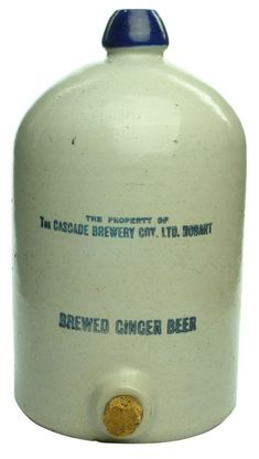 ABCR Auctions / Auction - / Demijohn Printed / Lot Embossing: The property of / The Cascade Brewery Coy. No potters stamp. Beer Bottles, Bottles And Jars, Antique Stoneware, Ceramic Jars, Ginger Beer, Tasmania, Brewery, Whiskey, Mad