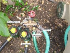 I hate watering my yard and did not want to drop thousands on a permanent sprinkler system. So, I came up with this solution using regular garden sprinklers and. Sprinkler Hose, Lawn Sprinkler System, Kids Sprinkler, Sprinkler Irrigation, Irrigation Systems, Lawn And Landscape, Garden Landscape Design, Bird Bath Garden, Water Garden