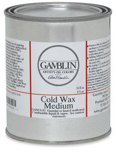 Cold Wax Medium, 16 oz  A soft paste that makes oil colors thicker and more matte. Formulated to knife consistency, it's made from naturally white unbleached beeswax, alkyd resin, and odorless mineral spirits, and can be thinned to brush consistency. It can also be used as a final varnish.