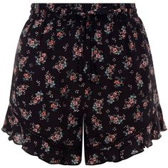 New Look Black Floral Print Frill Hem Shorts (1,010 DOP) ❤ liked on Polyvore featuring shorts, black pattern, floral pattern shorts, print shorts, patterned shorts, ruffle hem shorts and floral shorts