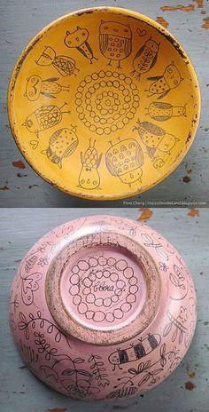 Flora Chang wooden doodle bowl. Happy Doodle #linduraTotal