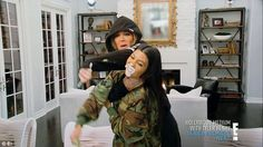 Food fight: Khloe and Kourtney Kardashian engaged in a food fight at Kylie's newly furnished home
