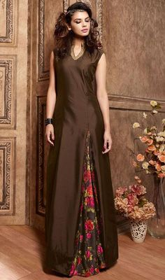 Chocolate Color Shade Satin Printed Designer Suit
