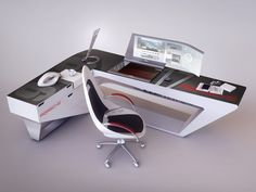 modern desk design by encho enchev sci fi 3d cgsociety - Modern Desk Design