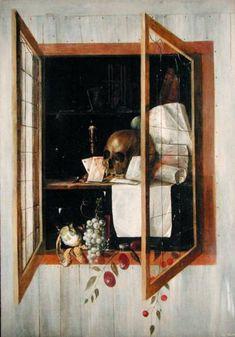 Cornelis Norbertus Gysbrechts - Vanitas still life seen through a trompe l'oeil window