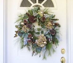Christmas Wreath for Front Door-Winter Wreath-Winter Farmhouse Decor-Winter White Wreath -Designer Wreath-Holiday Wreath-Woodland Wreath by ReginasGarden on Etsy https://www.etsy.com/listing/566368633/christmas-wreath-for-front-door-winter