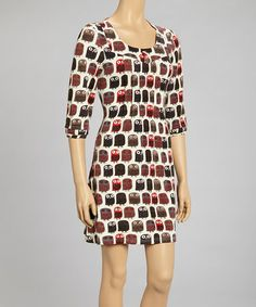 Take a look at this Red & Gray Owl Pleated Scoop Neck Dress by Reborn Collection on #zulily today! $40 !!