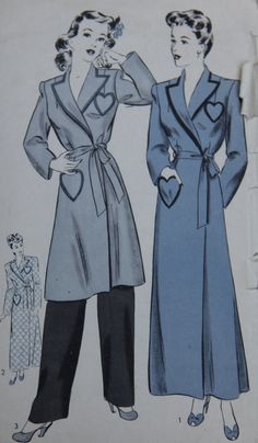 1940s Hollywood 1416 Vintage Sewing Pattern Robe by GreyDogVintage, $22.00