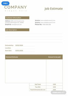 A job estimate sheet you can use for your company. This template is free to download and easy to edi. It is printable and well-formatted. It can also be customized to better suit your preferences. Templates Printable Free, Printable Designs, Card Templates, Invoice Template Word, Quote Template, Quotes About Haters, Plumbing Companies, Estimate Template, Job Quotes