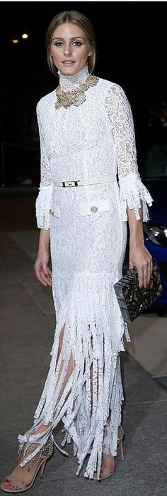 Who made Olivia Palermo's white lace fringe dress, shell clutch handbag, and nude crystal sandals that she wore in Paris on September 30, 2014
