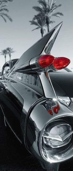 For the vintage car admirer, this door mural is a classic! This chic design adds… For the vintage car admirer, this door mural is a classic! This chic design adds a splash of red to a black and white design depicting a Cadillac tail fin. Maserati, Bugatti, Mercedes Classic Cars, Ford Classic Cars, Best Classic Cars, Classic Trucks, Bmw Classic, 1959 Cadillac, Cadillac Eldorado