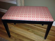 piano bench with printed red fabric and black paint               http://pinterest.com/cameronpiano