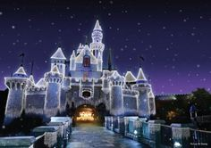 Disney world castle at Christmas time...a spectacular sight for little eyes!