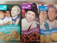 Nicolas Cage.....on girl scout cookies. Someday I want to go to a store and replace all the faces on products with NC