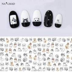 [Visit to Buy] 1 sheet Cat Water Transfer Nail Stickers Cat Nail Decals Nail Art Sticker Tattoo Decals Cat Nail Art, Cat Nails, Nail Art Diy, Coffin Nails, White Nail Designs, Simple Nail Art Designs, Nail Designs Spring, Nail Art Stickers, Nail Decals