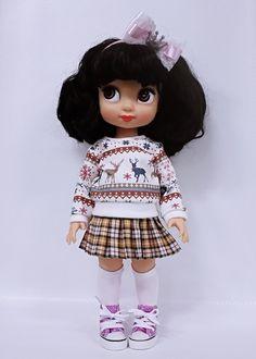"Disney animator 16"" doll, Skirt pleated check  multi yellow"