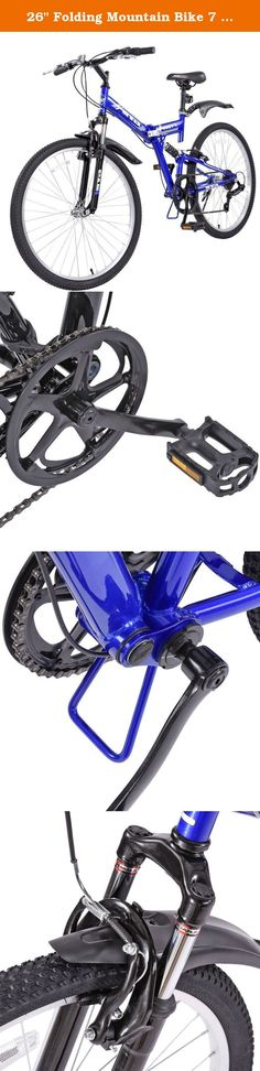 "26"" Folding Mountain Bike 7 Speed Bicycle, Men's Hybrid Bicycle, Blue. Fork: 26"" STEEL SUSPENSION FORK, THREAD, GLOSS BLACK, CP TRAVEL 60MM,31.8MM W/V-BRAKE PIVOT HANDLEBAR: STEEL RISER BAR,W=600MM,25.4MM,SANDBLAST BLACK HANDLEBAR STEM: STEEL SQUILL TYPE,EXT=100MM,SANDBLAST BLACK SEAT POST: STEEL 25.4*250MM*1.2T W/MIN. INSERTED LINES,W/O CLAMP,BLACK SADDLE: GTM MTB SADDLE,BLACK COVER W/BLACK RAIL W/GTM LOGO W/CLAMP PEDAL: 9/16,W/BALLS,W/CPSC REFLECTORS KICKSTAND: STEEL REAR TYPE L=310MM..."