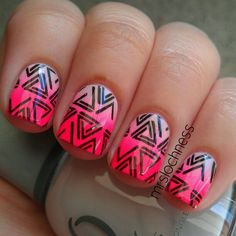 """Pale pink to neon pink gradient using Orly """"Decades of Dysfunction"""" & Sinful Colors """"Pink""""! Stamp is Mash-42.  @mrslochness"""