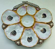 Antique European Crossed Shells Oyster Plate