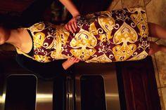 cute purple and yellow handmade apron.