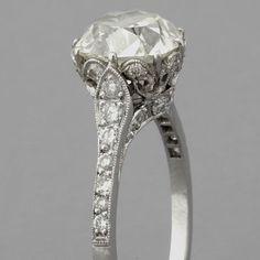 Cushion-cut Diamond Engagement Ring Antique Edwardian Style Platinum
