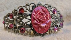 Antique Silver Filigree Bracelet. with Hand Painted Two-Tone Pink Rose Cameo. Rose Pink Swarovski Crystal accents