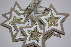 Lot de 7 jolies étoiles kraft, blanc et doré : Emballages cadeaux par 36-heures-dans-une-journee